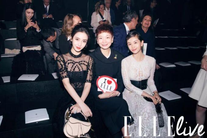 <p> Angelababy chụp hình cùng Vương Tử Văn (phải) và giám đốc Elle China.</p>