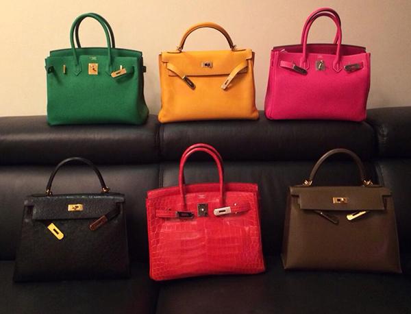 Bộ sưu tập túi xách Hermes của Cún Bông có hơn chục chiếc đủ màu sắc, giá mỗi chiếc từ vài trăm triệu đồng cho đến hơn 1 tỷ đồng.