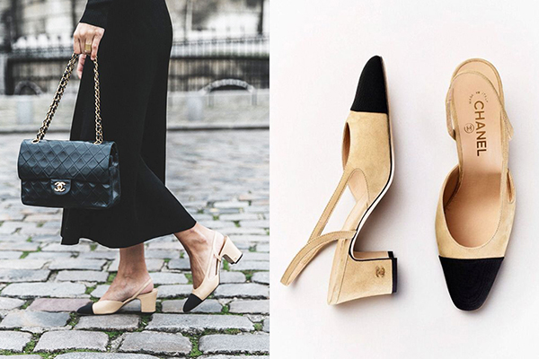 Đôi giày gót vuông mũi nhọn pha hai màu đen - nude được Gabrielle Chanel sáng tạo năm 1957, sau đó được Karl Lagerfeld giới thiệu trở lại trong bộ sưu tập thu đông 2015. Đã hơn 60 năm trôi qua, đây vẫn được xem là đôi giày kinh điển không bao giờ lỗi mốt mà mọi cô gái nên có.