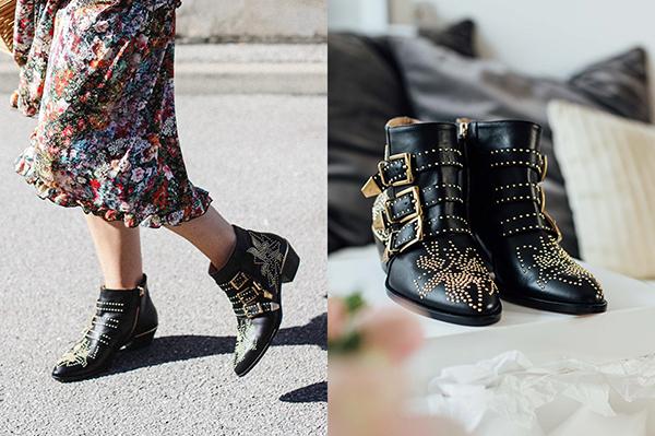 Đôi ankle boots này chắc hẳn là phụ kiện mà các tín đồ thời trang đã thấy nhẵn mặt trong các bức ảnh street style trên đường phố Âu Mỹ. Nó mang đậm phong cách rock and roll phóng khoáng, rất phù hợp với các quý cô cá tính nơi đây. Đinh tán kim loại vàng lấp lánh khắp thân giày giúp người đi trở nên đầy nổi bật.