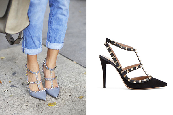 Mang dáng dấp của một đôi giày cao gót điệu đà với mũi nhọn, gót nhọn cùng phần quai duyên dáng, tuy nhiên đôi giày của Valentino lại được thêm vẻ gai góc bằng đinh tán trang trí, giúp nó chinh phục mọi cô gái từ bánh bèo đến cá tính. Rockstud là đôi giày kinh điển mang giá trị nhận diện thương hiệu của Valentino, đồng thời cũng là sản phẩm bán chạy nhất của hãng.
