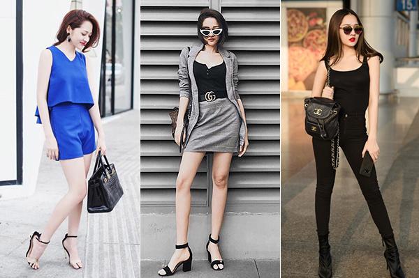Sở hữu vẻ ngoài mong manh nên Bảo Anh thường gắn chặt với phong cách nữ tính kiểu tiểu thư, đặc biệt giày cao gót là món đồ không thể thiếu.