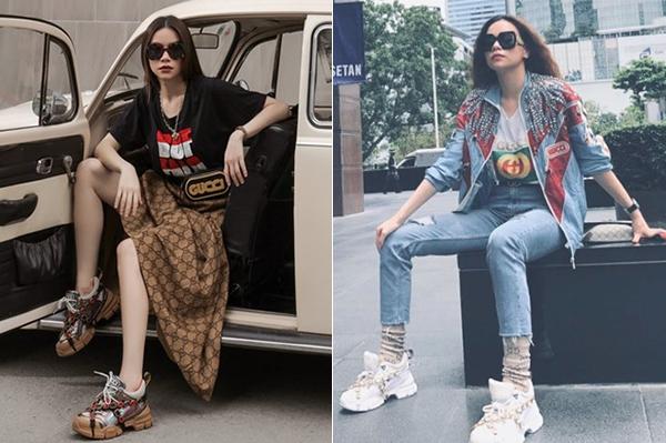 Nữ ca sĩ đang mê mệt mẫu sneakers mới của Gucci, với thiết kế to oạch rất hầm hố, được cô phối cùng nhiều kiểu đồ từ bụi bặm cho đến kiêu kỳ khi dạo phố.