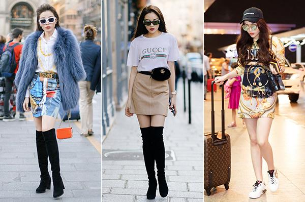 Từ khi hướng đến hình ảnh high fashion, Kỳ Duyên chăm chỉ tham dự các show thời trang. Năm ngoái, người đẹp lần đầu xuất ngoại dự fashion week ở Milan. Thời trang trong chuyến đi đó của Kỳ Duyên cũng được đánh giá cao vì dát đầy hàng hiệu sang chảnh, đẹp mắt.