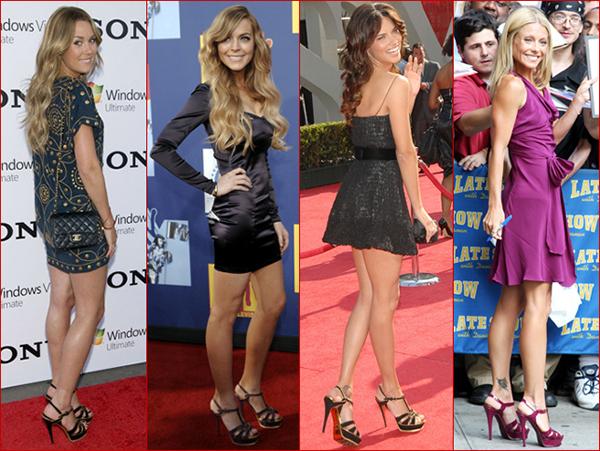 Đôi sandals này có nhiều phiên bản màu sắc như đen, đỏ, tím, ánh kim..., rất được lòng các người đẹp khi diện váy ngắn.