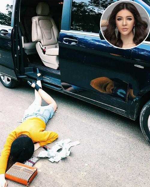 Người đẹp từng thi Hoa hậu Hoàn vũ 2017 Thiên Hương chụp ảnh theo trào lưu ngã sấp mặt từ khách sạn cho đến xe ô tô.