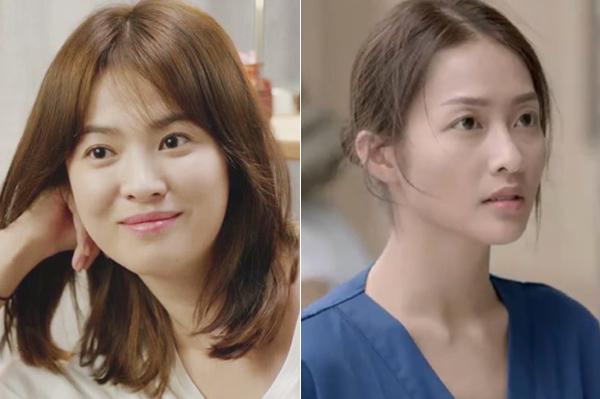 Trong bản Hàn, Song Hye Kyo tạo nên cơn sốt với lối makeup trong veo, có mà như không. Dù chỉ sử dụng các tông màu rất nhạt nhưng bác sĩ Kang trông vẫn rất tươi tắn, tràn đầy sức sống. Trong khi đó, bác sĩ Hoài Phương dù có trang điểm nhẹ nhưng lại chẳng khác gì để mặt mộc. Đôi mắt của cô trông mệt mỏi, lộ rõ quầng thâm.