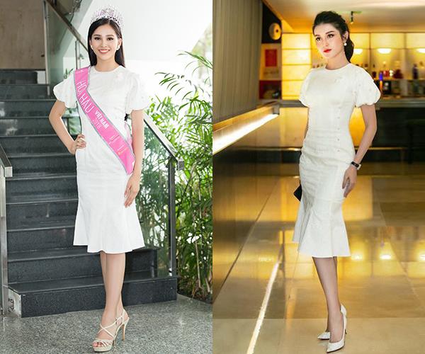 Chiếc váy cocktail màu trắng sang trọng của NTK Nguyễn Quảng trước khi được Tiểu Vy mặc đã được Á hậu Huyền My chọn diện đi sự kiện trước đó. Hai người đẹp có cách phối giày dép, kiểu tóc khác nhau.