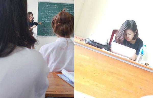 Bức hình chụp lén cô giáo xinh đẹp được sinh viên chia sẻ. Ảnh: P.H
