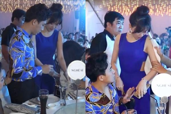 Hari Won gặp sự cố bị đổ nước lên người khi dự tiệc sinh nhật của Đàm Vĩnh Hưng.
