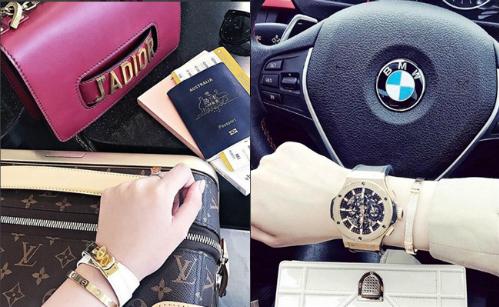 Loạt hàng hiệu mới sắm gần đây được Jolie Nguyễn khoe khéo trên trang cá nhân. Phụ kiện đồng hồ, vòng tay nạm kim cương Cartier là món đồ yêu thích của hoa hậu con nhà giàu.