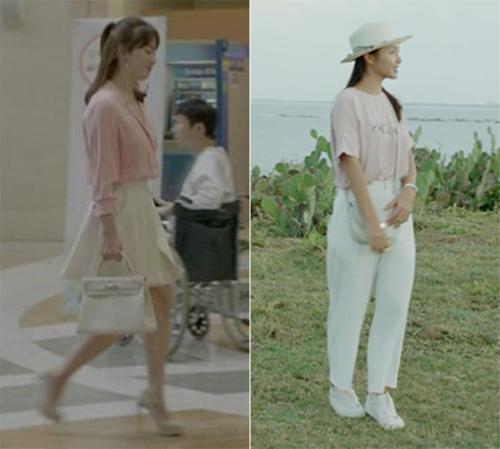 Song Hye Kyo chủ yếu sử dụng những gam màu nhẹ nhàng như hồng, xanh pastel, trắng trong phim, tạo nên vẻ nền nã, trưởng thành mà không quá dừ. Khả Ngân bắt chước nữ diễn viên Hàn với những set đồ phối màu y hệt.