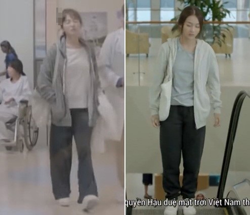 Ngay cả bộ đồ lúc xuề xòa của Song Hye Kyo cũng được Khả Ngân copy hoàn hảo với combo áo phông, quần rộng, áo nỉ và túi tote vải.