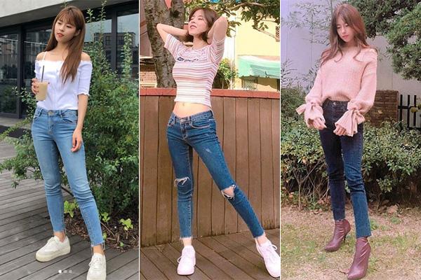 Những chiếc áo trễ vai, croptop hay kiểu dáng đơn giản kết hợp cùng quần skinny tạo cảm giác Do Hee trông thanh thoát hơn chiều cao thật.