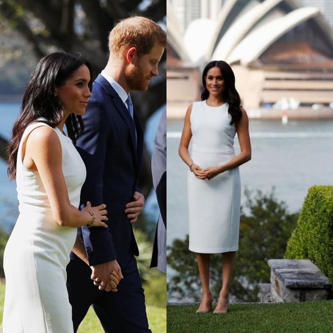 <p> Ngày 16/10, trong buổi gặp mặt các quan chức cấp cao ở Sydney, Meghan mặc chiếc váy màu trắng của NTK người AustraliaKaren Gee. Khác với những lần xuất hiện gần đây luôn diện màu tối và mặc áo khoác rộng, đây là lần đầu tiên Meghan mặc trang phục sáng màu, tự tin khoe bụng bầu đang dần nhô lên.</p>