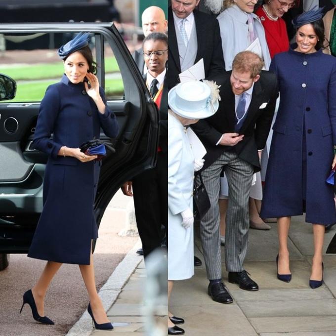 <p> Ngày 12/10, tại đám cưới Công chúa Eugenie, Meghan lựa chọn phong cách sang trọng, nhã nhặn. Cô mặc bộ cánh màu xanh hải quân của Givenchy, kết hợp phụ kiện tông xuyệt tông.</p>