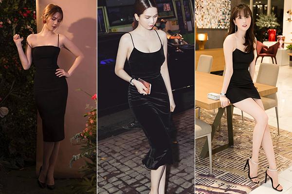Trước đây, khi diện những kiểu váy đen tương tự, Ngọc Trinh không đeo vòng cổ để tôn lên vòng một. Đây là lựa chọn khôn ngoan vì trang sức sẽ làm mất đi nét sang trọng của kiểu đồ đơn giản. Với kiểu váy hai dây đen thế này, cô nàng chỉ cần thêm một đôi bông tai là đủ.