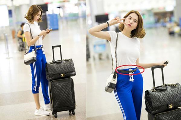 Việc thêm một chiếc thắt lưng bên ngoài chiếc quần thể thao cạp chun cũng cho thấy gu thời trang chông chênh, cách mix đồ còn chưa tinh tế của cô nàng.