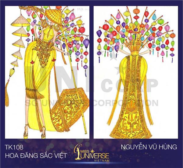 Nón lá, đèn lồng tiếp tục là nguồn cảm hứng cho thiết kế Hoa đăng sắc Việt của tác giả Nguyễn Vũ Hùng. Với màu vàng tươi làm chủ đạo, thiết kế này có thể rất bắt sân khấu. Tuy nhiên phom váy ngắn ngang gối lại có thể chưa đủ độ hoành tráng.