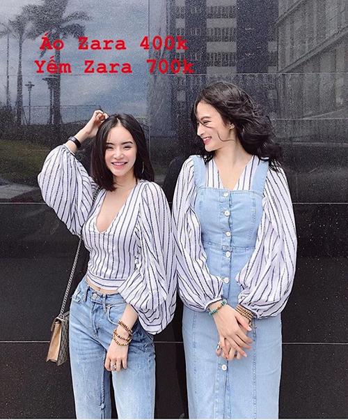 Trang phục được Angela Phương Trinh thanh lý chủ yếu đến từ thương hiệu Zara, được cô nàng nhượng lại với giá khoảng một nửa. Thương hiệu đồ bình dân này mang phong cách trẻ trung mà vẫn nữ tính, phù hợp với hình tượng nữ diễn viên theo đuổi.