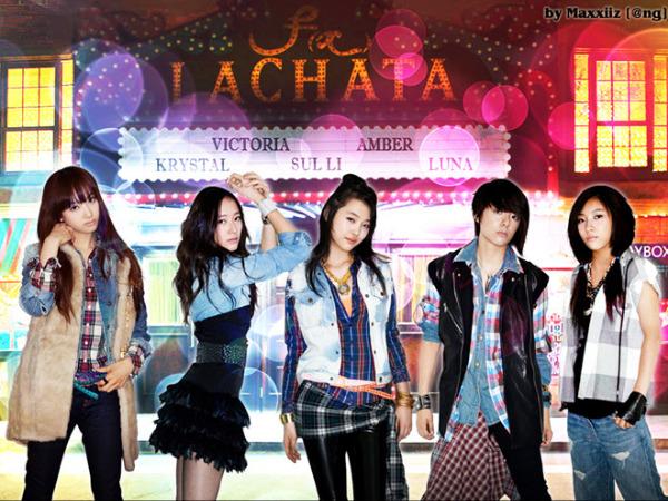 Sulli (giữa) ra mắt cùng nhóm f(x) với ca khúc La Cha Ta năm 2009. Sau khi rời f(x) cô chuyển hướng làm diễn viên nhưng chưa thành công.