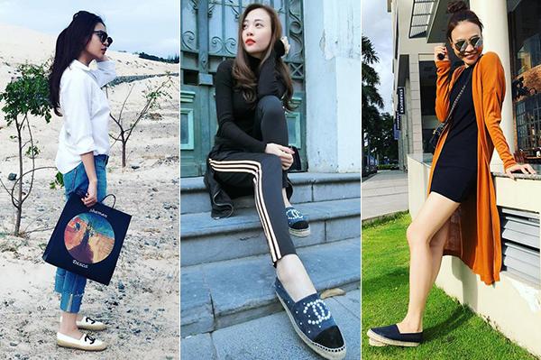 Giày đế cói của Chanel là một trong những item Đàm Thu Trang yêu thích nhất vì đi lại thoải mái, dễ kết hợp đồ.