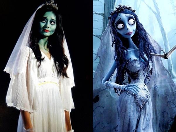 Em út Tzuyu cũng rất chịu chơi khi thể hiện nhân vật cô dâu ma Emily trong phim hoạt hình Corpse Bride. Tzuyu sẵn sàng bôi màu xanh đầy mặt và trang điểm ma quái cho đúng chất nhân vật.