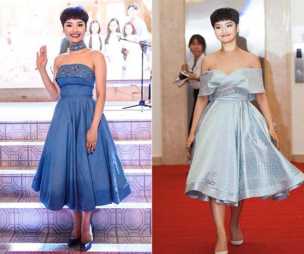 Kiểu tóc siêu ngắn cực kỳ kén mặt khiến Miu Lê gặp vất vả trong vấn đề chọn trang phục. Khi khoác lên mình những bộ váy điệu đà, nữ diễn viên trông lại có phần sến sẩm, thiếu hiện đại.