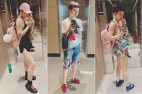 Ở đời thường, người đẹp cũng có sự chuyển biến style 180 độ sang hình tượng ngổ ngáo, nổi loạn như teen boy. Nữ diễn viên 28 tuổi giờ đây mê tít cách mặc đồ xì po với áo phông, quần shorts, quần jeans rách rưới... đi kèm ba lô, tất cổ cao chẳng khác gì học sinh mới lớn.