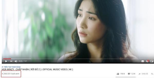 Hiệu ứng MV Chấp nhận nằm ngoài sức mong đợi của Hòa Minzy.