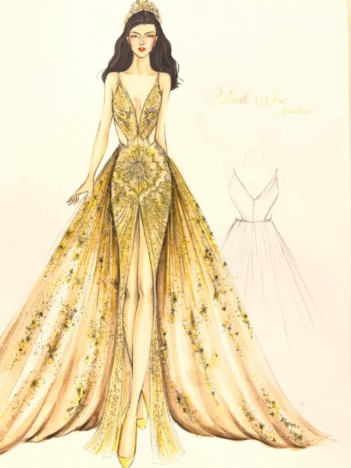 Bản vẽ đầm dạ hội của Phương Khánh.