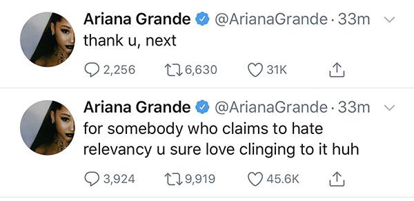 Ariana bức xúc trên Twitter.