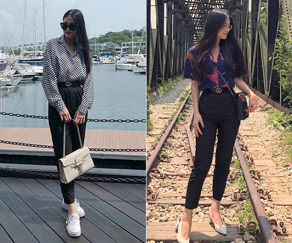 Ngoài hai chiếc túi xách, Phương Khánh còn sở hữu một món đồ hiệu cao cấp khác là thắt lưng bản mảnh của Gucci, giá khoảng 9 triệu đồng.