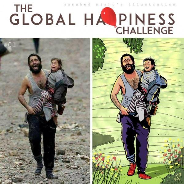 Nếu không có chiến tranh, trên gương mặt của hai bố con người Syria này sẽ là những tiếng cười và niềm vui bất tận với những cánh đồng trù phú sau lưng, thay vì phải chạy trốn trong tuyệt vọng vì thành phố của họ đã bị phiến quân IS tấn công.
