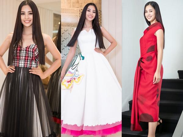 Những bộ đầm xòe, đính kết quá nhiều chi tiết vừa khiến Tiểu Vy trông kém sang, vừa che đi số đo gợi cảm của Tân Hoa hậu Việt Nam.
