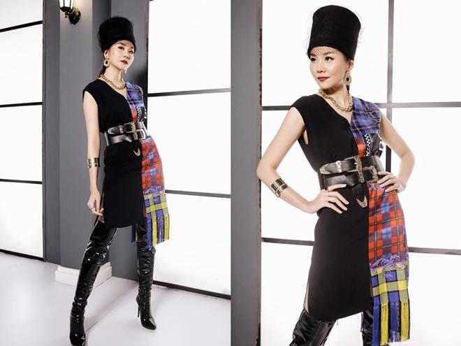 <p> Kiểu mũ được NTK Đông Đông làm riêng cho Thanh Hằng được cô mix tinh tế cùng váy của Versace, boots và belt của IMIS', phụ kiện vòng, dây chuyền của Lovisa.</p>