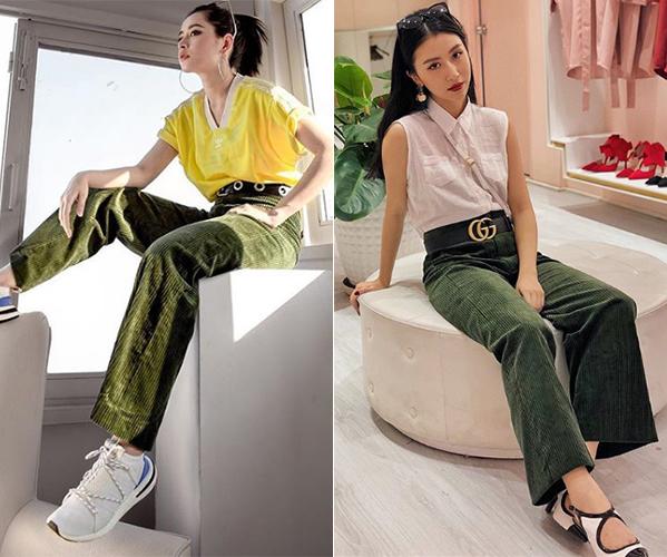 Cùng một chiếc quần nhung xanh rêu, Chi Pu trông rất sporty khi diện theo phong cách thể thao, trong khi đó Quỳnh Anh Shyn luôn trung thành với style cổ điển đã thành thương hiệu.