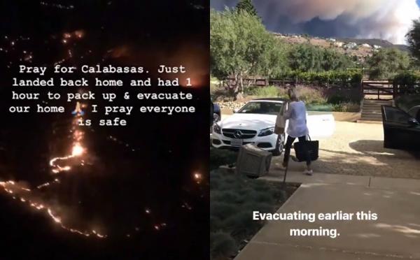 Kim và Lady Gaga thông báo về ngọn lửa khổng lồ lan rộng Malibu, California.