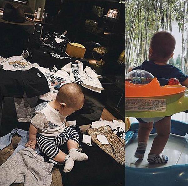 Huyền Baby cho con tận hưởng cuộc sống sang chảnh, mỗi lần shopping cô đều sắm cho con cả núi đồ hiệu dù biết cậu nhóc đang tuổi ăn tuổi lớn, mỗimón đồ đôi khi chỉ mặc được một lần.