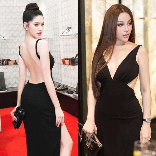 Thân hình nuột nà của hai mỹ nhân đều được khai thác triệt để khi diện chung váy.