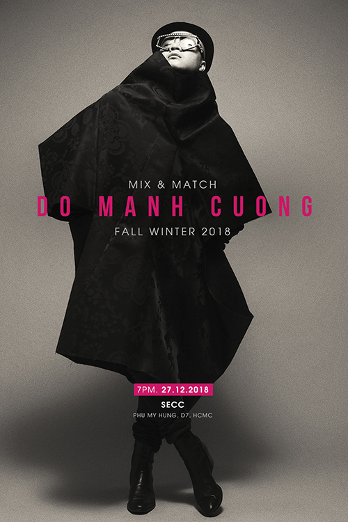 Poster show thu đông 2018 có tông hồng - đen làm chủ đạo.