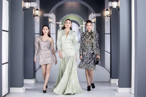 Set đồ của NTK Nguyễn Tiến Truyển khiến thân hình của Võ Hoàng Yến trở nên đồ sộ hơn nhiều so với hai đồng nghiệp.