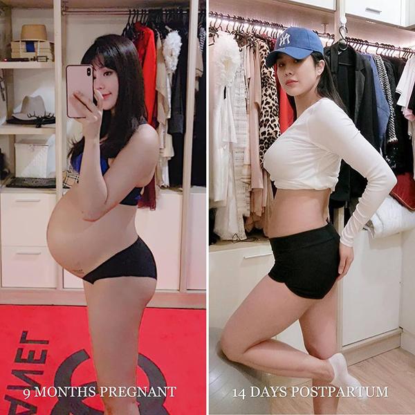 Diệp Lâm Anh khiến fan thán phục vì chỉ mới sinh em bé được 14 ngày đã có vóc dáng gọn gàng đáng kể.