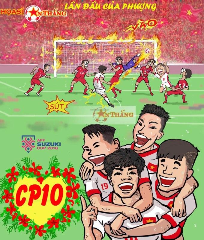 <p> Khoảnh khắc Công Phượng ghi bàn thắng đầu tiên cho đội Việt Nam bằng cú sút trái phá.</p>