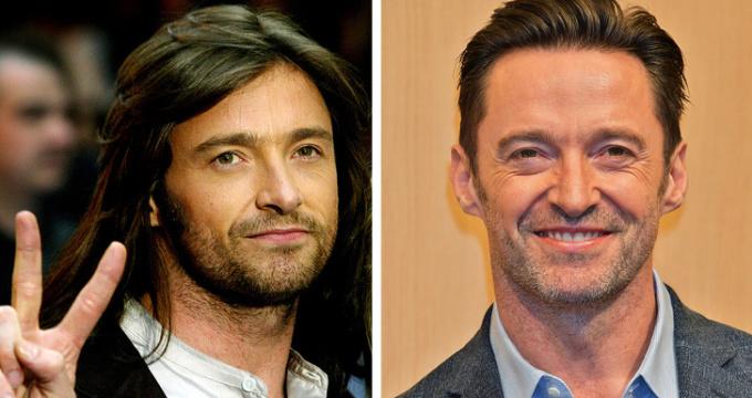 """<p> """"Người sói"""" Hugh Jackman bắt đầu sự nghiệp phim ảnh khá muộn, khi đã gần 30 tuổi. Thời gian đầu, nhiều người chê anh về thân hình gầy gò. Càng về sau, anh càng """"trổ mã"""". Nhất là khi đảm nhận vai Wolverine, Hugh Jackman đã phải tập luyện để tăng cân và có cơ bắp cuồn cuộn vô cùng quyến rũ.</p>"""