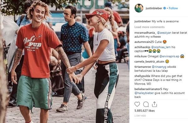 Justin gọi Hailey là vợ trên Instagram.