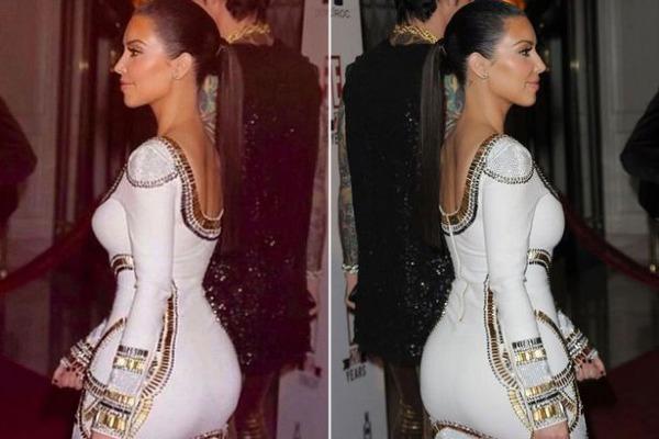 Từ trước đến nay, fan chẳng xa lạ gì với việc Kim thường tút tát kỹ càng những bức ảnh bằng phần mềm chỉnh sửa trước khi tung lên mạng xã hội. Cô nàng nhiều lần bị bóc mẽ photoshop vòng eo, vòng ba để có được đường cong ấn tượng.