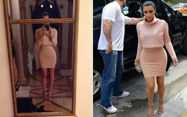 Sự khác biệt giữa ảnh Kim đăng lên Instagram và ảnh nhà báo chụp. Các fan cho rằng nỗi ám ảnh về ngoại hình của bà xã Kanye West  đang dần trở thành một thứ bệnh lý đáng sợ.