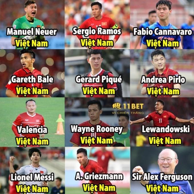"""<p> Dàn """"soái ca"""" của Đội tuyển Việt Nam cũng được đặt những biệt danh rất """"kêu"""", Công Phượng là Lionel Messi bản Việt, thủ môn Lâm Tây rất giống với thủ môn điển trai người Đức Manuel Neuer hay thầy Park Hang-seo chính là thầy Alex Ferguson của Việt Nam.</p>"""