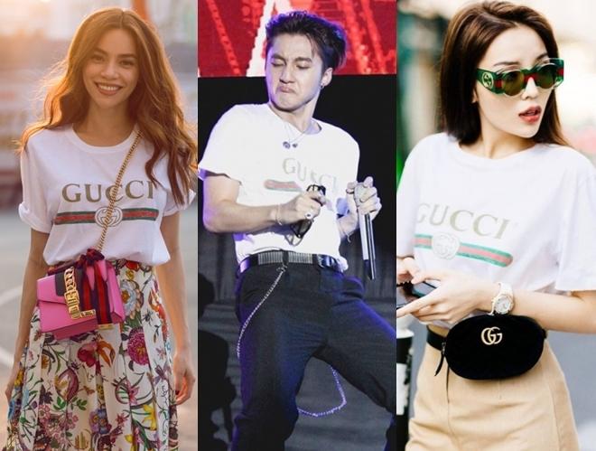 <p> Chiếc áo phông trắng kiểu dáng basic của Gucci từng được Hà Hồ và Kỳ Duyên diện khi xuống phố. Thiết kế unisex có giá hơn 13 triệu đồng được Sơn Tùng kết hợp với quần thô trên sân khấu của một chương trình ca nhạc. Mẫu áo này giúp các sao trở nên năng động, tự tin.</p>
